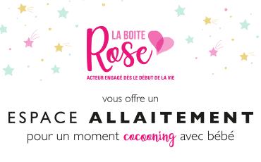 La Boîte Rose vous offre un espace allaitement pour un moment de cocooning avec bébé sur le salon Baby !